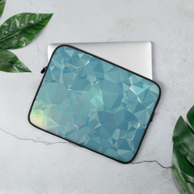 Blue and Green Low poly Geometric Pattern Laptop Sleeve
