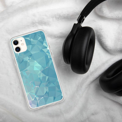 Blue and Green Low poly Geometric Pattern iPhone Case