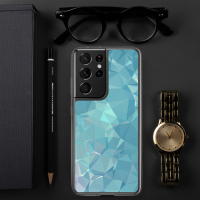 Blue and Green Low poly Geometric Pattern Samsung Case