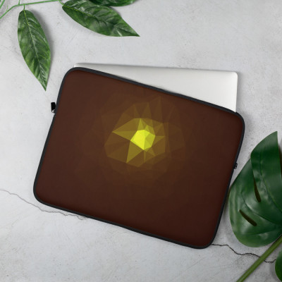 Brown and Yellow Low Poly Geometric Pattern Laptop Sleeve
