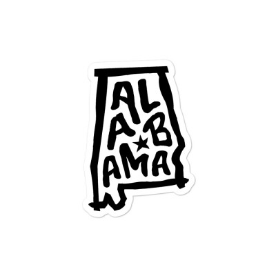 Alabama Sticker, Black on White