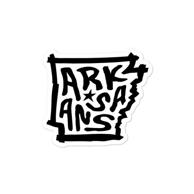 Arkansas Sticker, Black on White