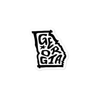 Georgia Sticker, Black on White