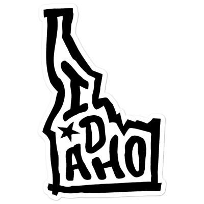 Idaho Sticker, Black on White