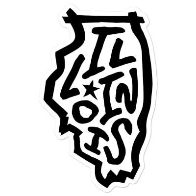 Illinois Sticker, Black on White