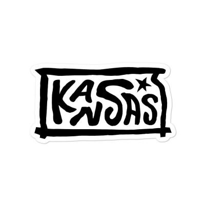 Kansas Sticker, Black on White