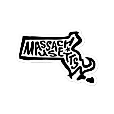 Massachusetts Sticker, Black on White