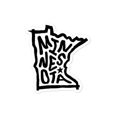Minnesota Sticker, Black on White