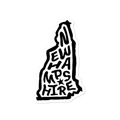 New Hampshire Sticker, Black on White