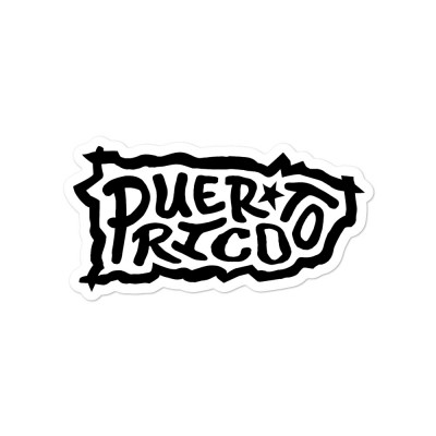 Puerto Rico Sticker, Black on White