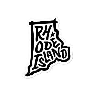 Rhode Island Sticker, Black on White