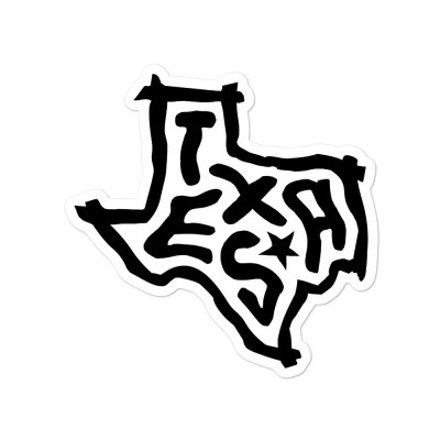 Texas Sticker, Black on White