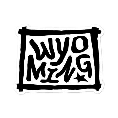 Wyoming Sticker, Black on White