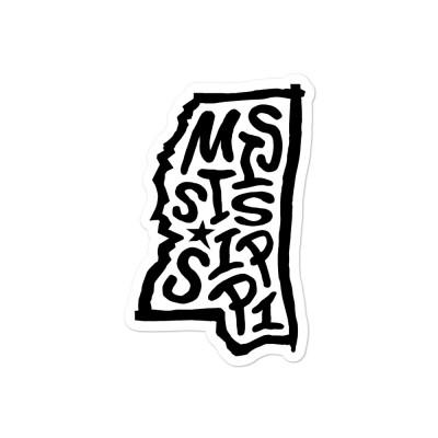 Mississippi Sticker, Black on White