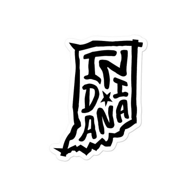 Indiana Sticker, Black on White