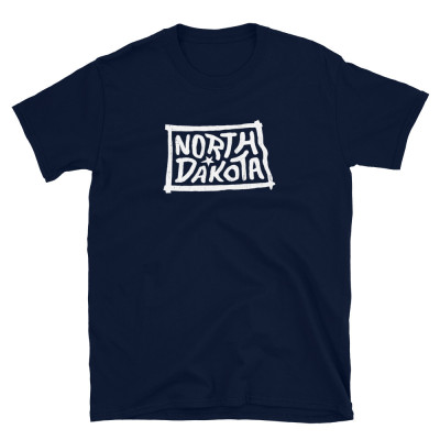 North Dakota Shirt, Light on Dark, Unisex, Gildan Basic Softstyle