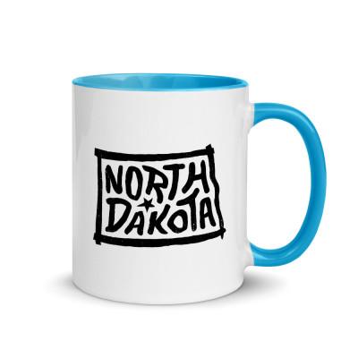 North Dakota Ceramic Mug with Color Inside