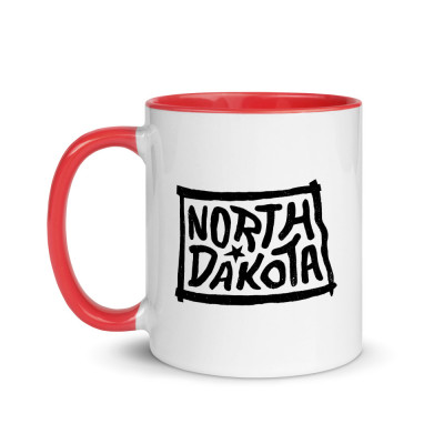 North Dakota Ceramic Mug with Color Inside