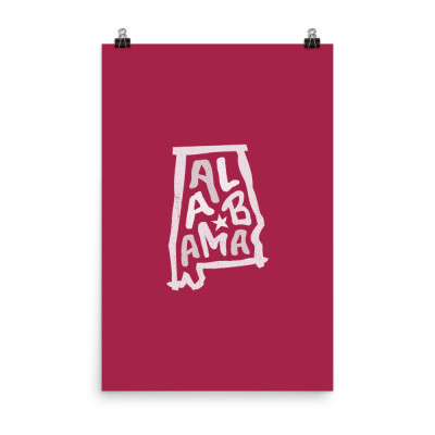 Alabama Poster, Enhanced Matte Paper, Color