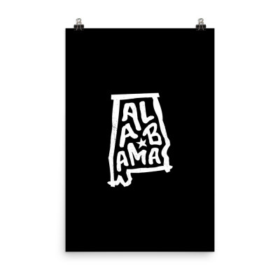 Alabama Poster, Enhanced Matte Paper, Black