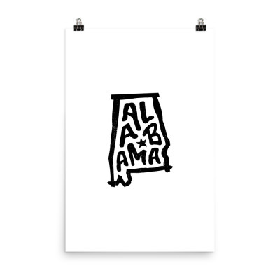 Alabama Poster, Enhanced Matte Paper, White