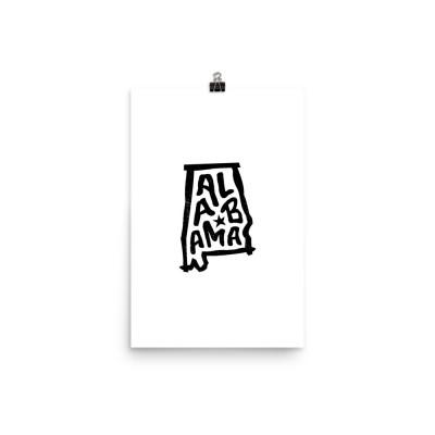 Alabama Poster, Enhanced Matte Paper, White