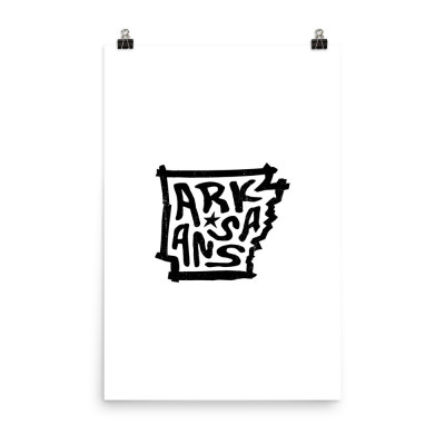 Arkansas Poster, Enhanced Matte Paper, White
