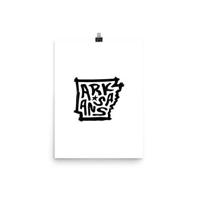 Arkansas Poster, Enhanced Matte Paper, White