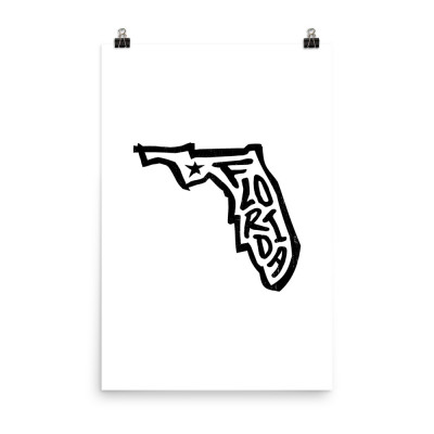 Florida Poster, Enhanced Matte Paper, White