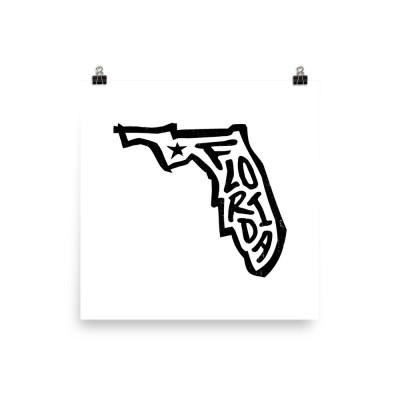 Florida Poster, Enhanced Matte Paper, White