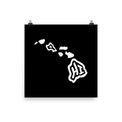 Hawaii Poster, Enhanced Matte Paper, Black