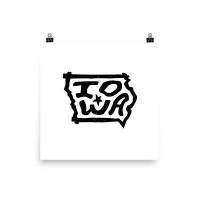 Iowa Poster, Enhanced Matte Paper, White