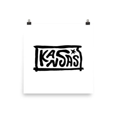 Kansas Poster, Enhanced Matte Paper, White