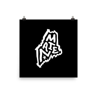 Maine Poster, Enhanced Matte Paper, Black
