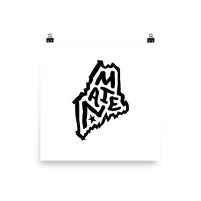 Maine Poster, Enhanced Matte Paper, White