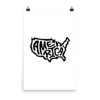 America Poster, Enhanced Matte Paper, White