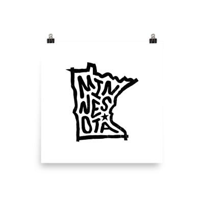 Minnesota Poster, Enhanced Matte Paper, White