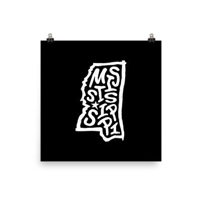 Mississippi Poster, Enhanced Matte Paper, Black
