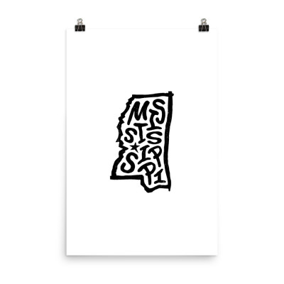 Mississippi Poster, Enhanced Matte Paper, White