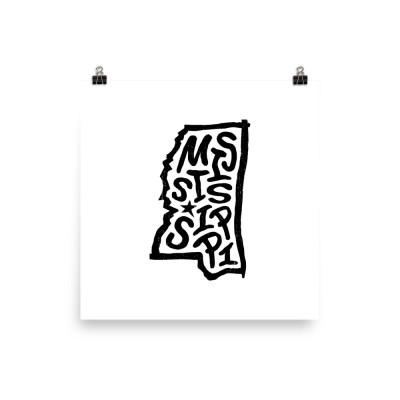 Mississippi Poster, Enhanced Matte Paper, White
