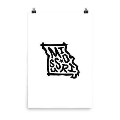 Missouri Poster, Enhanced Matte Paper, White