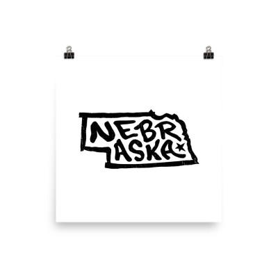 Nebraska Poster, Enhanced Matte Paper, White