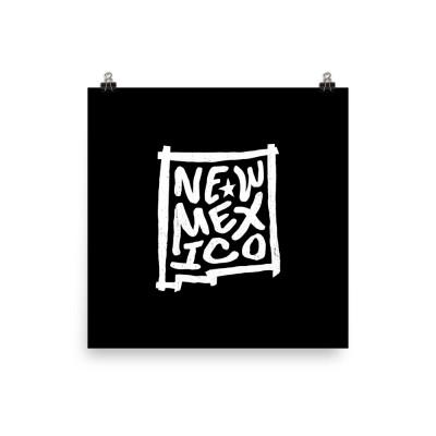 New Mexico Poster, Enhanced Matte Paper, Black