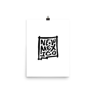 New Mexico Poster, Enhanced Matte Paper, White