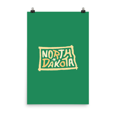 North Dakota Poster, Enhanced Matte Paper, Color