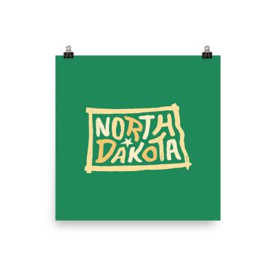 North Dakota Poster, Enhanced Matte Paper, Color