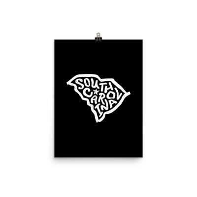 South Carolina Poster, Enhanced Matte Paper, Black