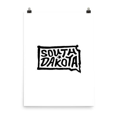 South Dakota Poster, Enhanced Matte Paper, White