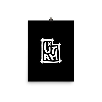 Utah Poster, Enhanced Matte Paper, Black