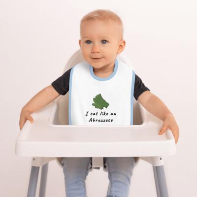 Embroidered Baby Bib - I eat like an Abruzzese